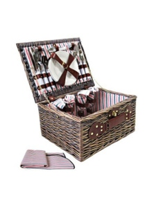4 Person Picnic Basket Deluxe Outdoor Corporate Gift Blanket