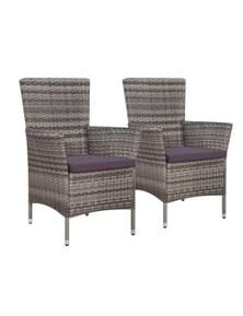 Garden Chairs 2 Pieces With Cushions Poly Rattan