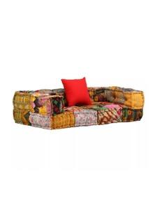2 Seater Modular Sofa With Armrests Fabric Patchwork