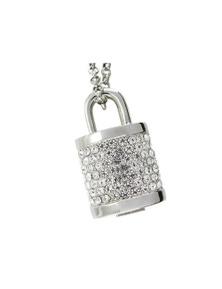 16Gb Crystal Lock Pendant USB Flash Drive Pen Stick Memory Silver