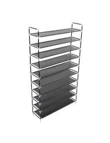 Shoe Rack With 10 Shelves Metal And Non Woven Fabric