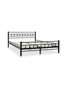 Bed Frame With Slatted Base Block Design Double Size
