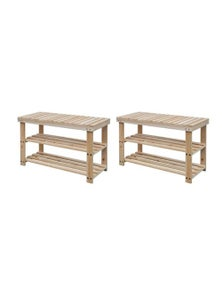 2 In 1 Shoe Rack With Bench Top 2 Pieces Solid Wood