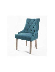 La Bella French Provincial Oak Leg Chair Dark Blue