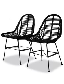 2 Pieces Rattan Dining Chairs