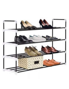 Metal and Plastic Shoe Rack with 4 Shelves