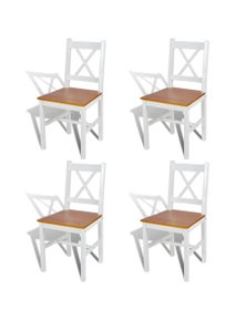 Dining Chairs Wood And Natural Colour 4 Pieces