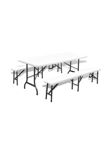 Folding Garden Table With 2 Benches Steel And
