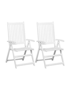 Folding Dining Chairs 2 Pieces Solid Acacia Wood