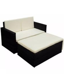 Garden Sofa Set Seven Pieces Poly Rattan