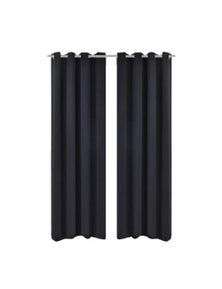 Blackout Curtains With Metal Rings 2 Pieces