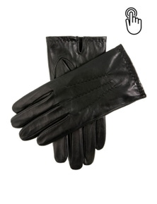 DENTS Aviemore Men's Touchscreen Leather Gloves Warm Winter - Black - L