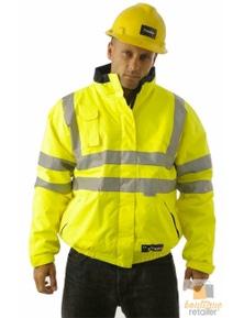 HUSKI QUARRY JACKET Bomber Hi Vis Reversible Waterproof Workwear Reflective Tape