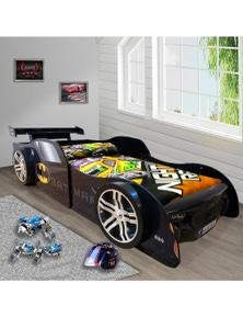 OliandOla Bat Man Racing Kids Car Bed 3D Wheel