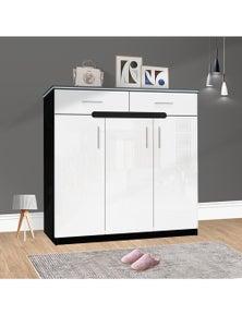 OliandOla Black White High Gloss Shoe Cabinet