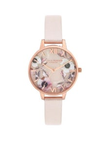 Olivia Burton Semi Precious Rose Gold Pearl Pink Watch