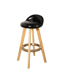 Levede 2 Pcs Wooden Swivel Bar Stool with Leather Seat