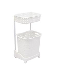 2 Tier Bathroom Laundry Clothes Basket Hamper