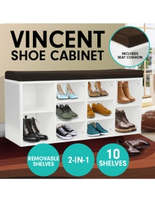 Klika Shoe Rack Cabinet Organiser Brown Cushion