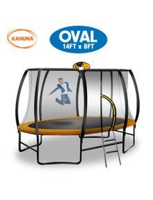 Kahuna Trampoline 8 ft x 14ft Oval with Basketball Set