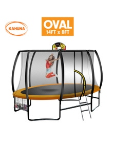 Kahuna Trampoline 8 ft x 14ft Oval with Basketball Set