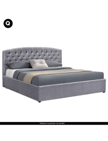 Laura Hill Fabric Gas Lift Storage Bed Frame with Headboard