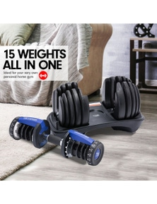 PowerTrain 48kg Adjustable Dumbbell Set with Stand