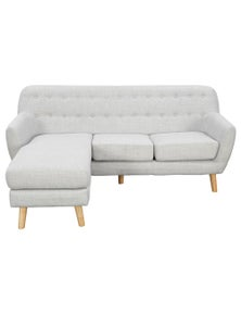 Sarantino Linen Corner L-Shaped Couch With Right Chaise