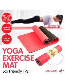 PowerTrain Eco Friendly TPE Yoga Exercise Pilates Mat