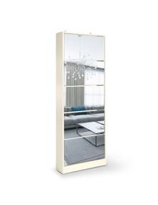 Sarantino Mirrored Shoe Storage Cabinet Organizer