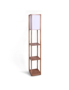 Sarantino Plastic Etagere Floor Lamp Off-White Fabric Shade in Oak Wood Finish