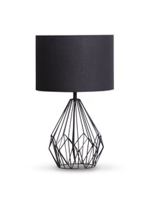 Sarantino Metal wire table lamp in black finish With black drum shade