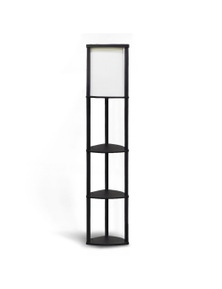 Sarantino Wood Etagere Floor Lamp in Tripod Shape with 3 Wooden Shelves
