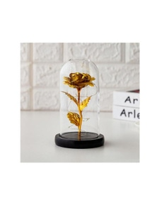 Forever Gold Leaf Rose In Glass LED Light
