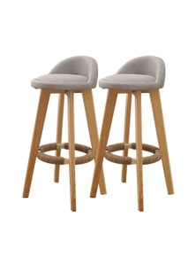 Levede 2 Pcs Wooden Swivel Bar Stool with Fabric Seat