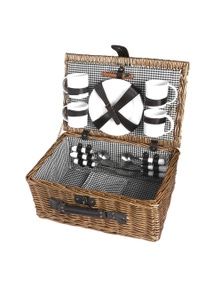 Deluxe 4 Person Picnic Basket Set with Accessories