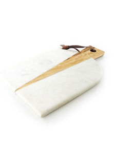 Thirsty Stone 31Cm Oval White Marble/Acacia/Wood Serving Board