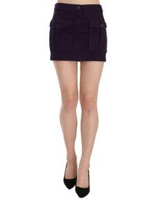GF Ferre Purple High Waist Button Pocket A-line Mini Skirt
