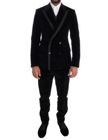 Dolce & Gabbana Black Velvet Slim Double Breasted Suit