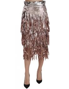Dolce & Gabbana Sequin Embellished Fringe Midi Pencil Skirt