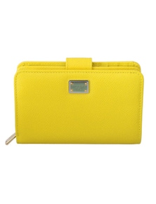 Dolce & Gabbana Yellow Leather Zipper Trifold Card Case Holder Wallet