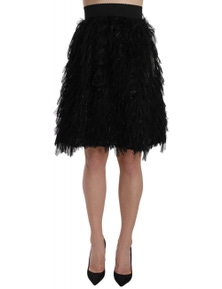 Dolce & Gabbana Black Fringe Metallic Mini A-line Skirt