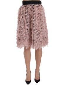 Dolce & Gabbana Pink Gold Fringe Metallic Pencil A-line Skirt