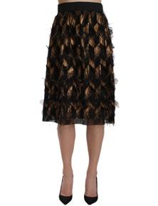 Dolce & Gabbana Black Gold Fringe Metallic Pencil A-line Skirt