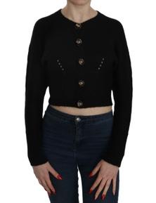Dolce & Gabbana Black Button Embellish Crop Cardigan Sweater