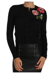 Dolce & Gabbana Black Cardigan Floral Embroidered Sweater