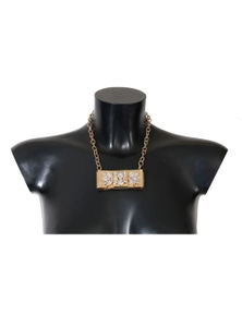 Dolce & Gabbana Gold Brass Clear Crystal Bow Necklace