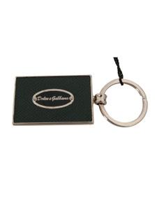 Dolce & Gabbana Green Dauphine Leather Silver Logo Keyring Keychain