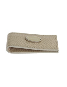 Dolce & Gabbana Beige Leather Magnet Money Clip