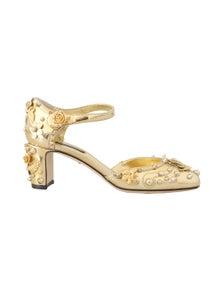 Dolce & Gabbana Gold Leather Floral Studded Pumps